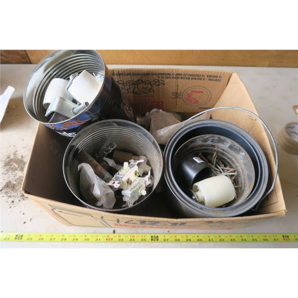 Box of Misc. Castors, Copper Plumbing, Nails and More!