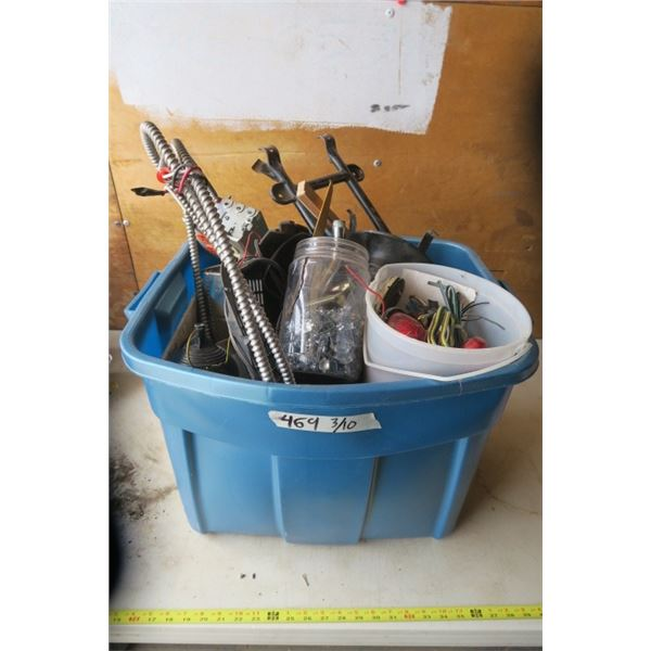 Rubbermaid Tote of Electrical, Trailer Lights, and Misc, Items