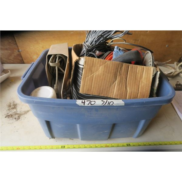 Rubbermaid with Extension Cords, Weed Whip Line, and Heavy Audio Cables
