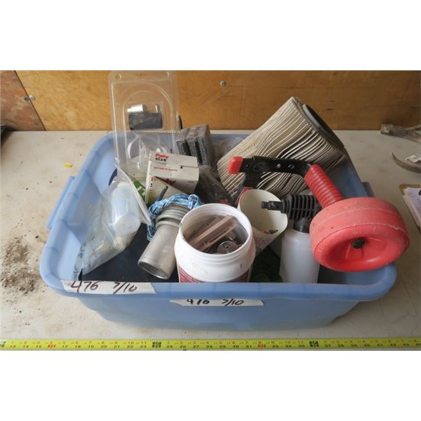 Box of Misc. Items with Nails and a Life Jacket