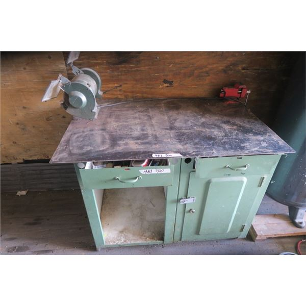 """Green Metal Work Bench with Vice and 6"""" Grinder + Contents"""