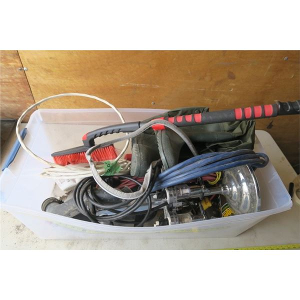 Tub of Misc. items Including Wiring, Liquor Dispenser, Rubber Boots and More!