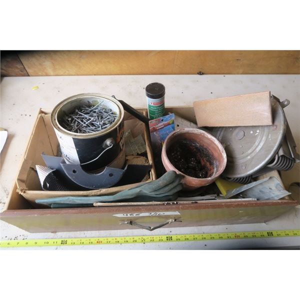Old Wood Drawer of Misc. Items Including Nails, Fish Hooks, Clay Flower Pot