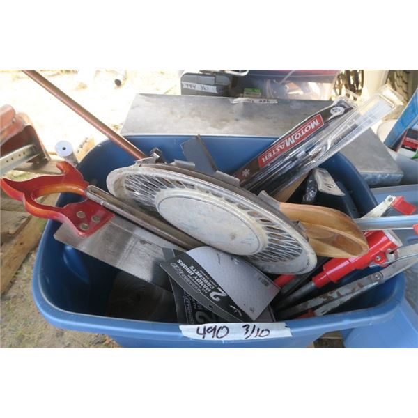 Rubbermaid of Misc. Items including Saw, Tire Irons, Windshield Wipers