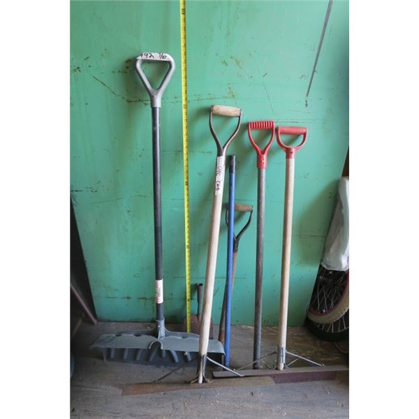 Lot of Shovels, Handles, and Ice Chipper Head