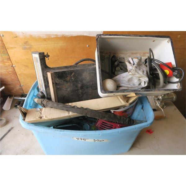 Box of Misc. Items, BBQ Sideburner, Football, Mechanical/Hydrolic Parts