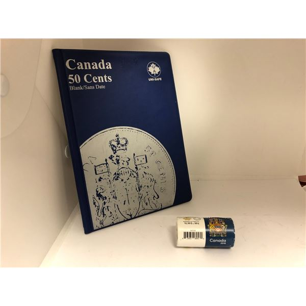 One roll of Royal Canadian Mint Canada 2018 50 Cents Coins & Canada 50 Cents Blank Coin Album w/ 1 2