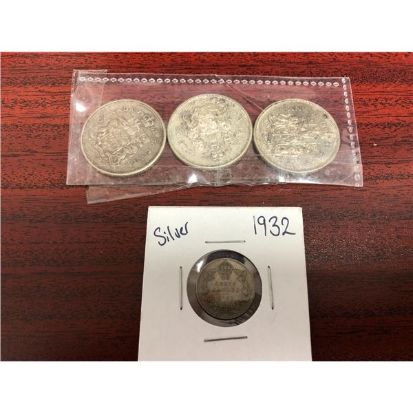 Group of 4 Canadian collectible silver coins - 1962/ 1964/ 1966 Half Dollar coins & 1932 dime