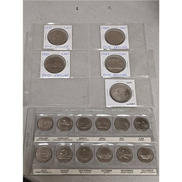 Group of 17 collectible Canadian coins - 1992 25 Confederation 125 Years set & 5 Canadian Dollars 19