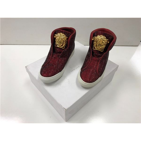 Pair of Versace size 38 red & gold shoes