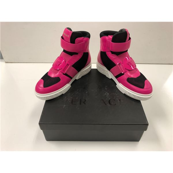 Pair of Versace size 37 pink & black high-top shoes