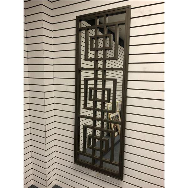 Large rectangular decorative wall mirror/ wood & mirror wall art - 22in wide x 61 1/2 long