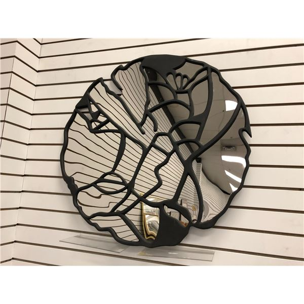 Large round decorative wall mirror/ metal & mirror wall art - 32in diameter