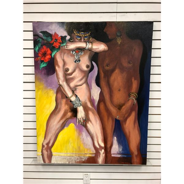 Frank Molnar Canadian (1936 - 2020) - Nude oil on canvas painting 1994 - 2 ladies/ red flowers & jew