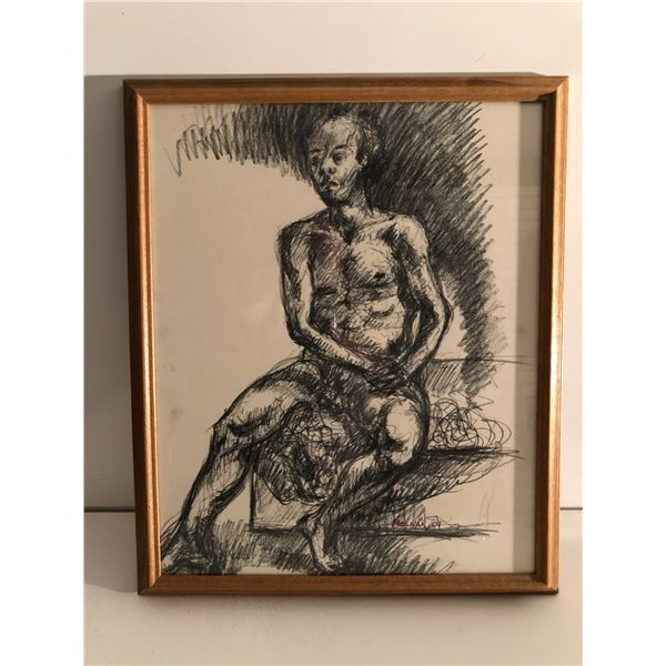 Frank Molnar Canadian (1936 - 2020) - Framed nude charcoal pencil sketch drawing 2001 - seated man (