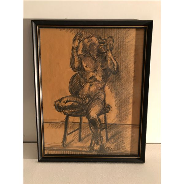 Frank Molnar Canadian (1936 - 2020) - Framed nude charcoal pencil sketch drawing 1999 - seated male