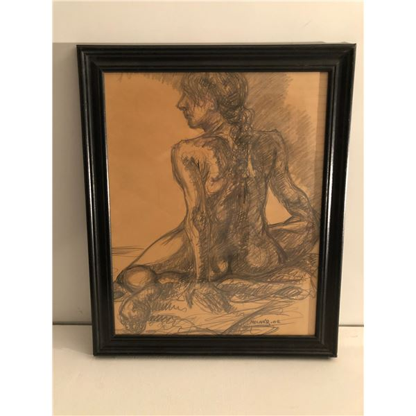 Frank Molnar Canadian (1936 - 2020) - Framed nude charcoal pencil sketch drawing 2002 - seated woman