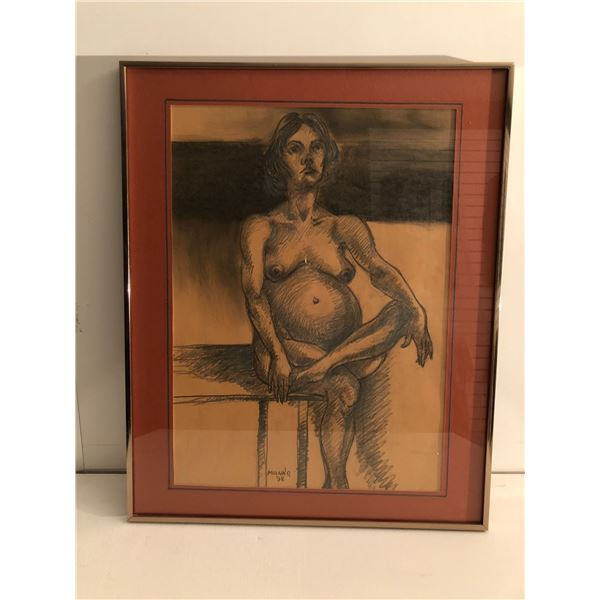 Frank Molnar Canadian (1936 - 2020) - Framed nude charcoal pencil sketch drawing 1998 - seated pregn
