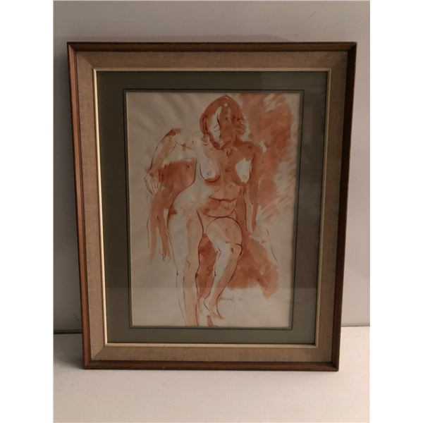 Frank Molnar Canadian (1936 - 2020) - Framed nude watercolor painting 1970 - woman posing approx. 19