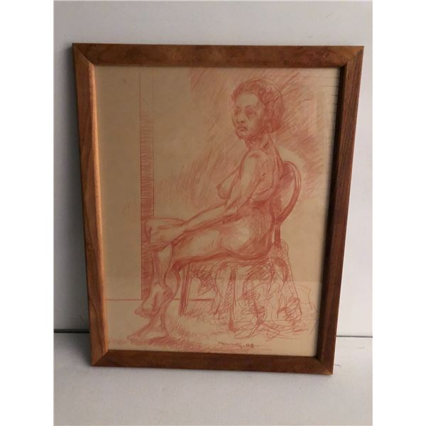 Frank Molnar Canadian (1936 - 2020) - Framed nude red charcoal pencil sketch drawing 2002 - seated w