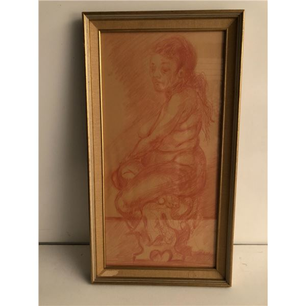 Frank Molnar Canadian (1936 - 2020) - Framed nude red charcoal pencil sketch drawing 2001 - seated w