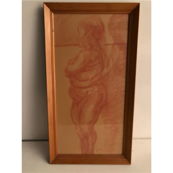 Frank Molnar Canadian (1936 - 2020) - Framed nude red charcoal pencil sketch drawing 2001 - standing