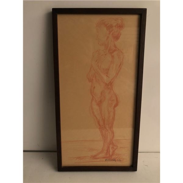 Frank Molnar Canadian (1936 - 2020) - Framed nude red charcoal pencil sketch drawing 2002 - standing