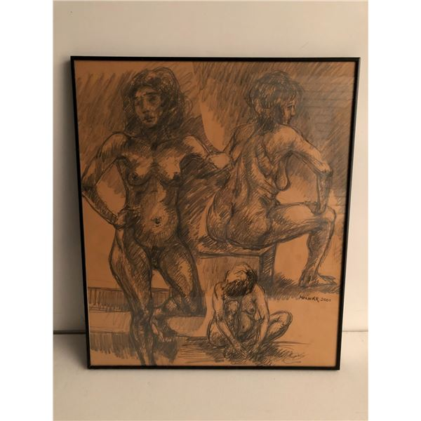 Frank Molnar Canadian (1936 - 2020) - Framed nude charcoal pencil sketch drawing 2001 - woman in 3 s