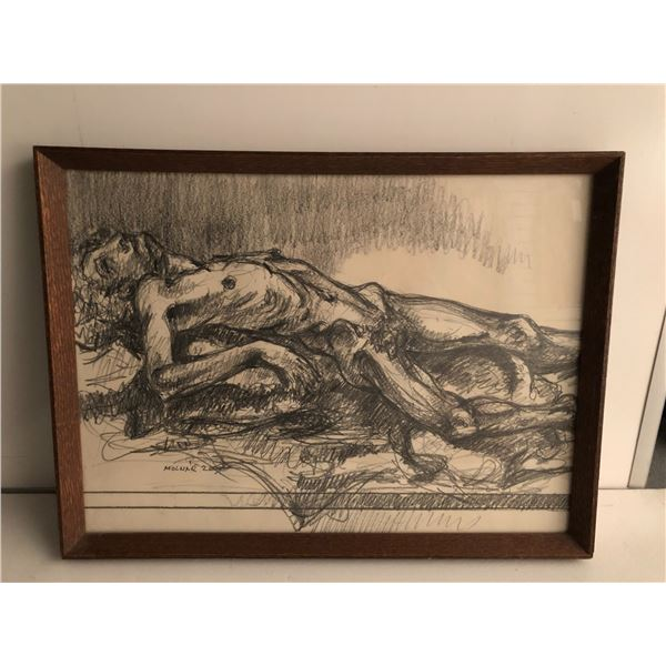 Frank Molnar Canadian (1936 - 2020) - Framed nude charcoal pencil sketch drawing 2000 - woman lying