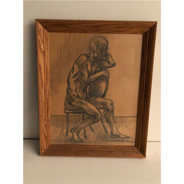 Frank Molnar Canadian (1936 - 2020) - Framed nude charcoal pencil sketch drawing 1999 - seated on ch