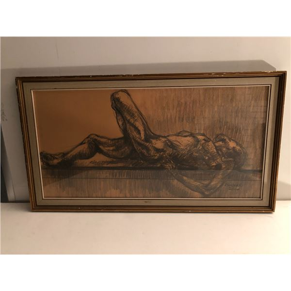 Frank Molnar Canadian (1936 - 2020) - Framed nude charcoal pencil sketch drawing 2000 - lying down m