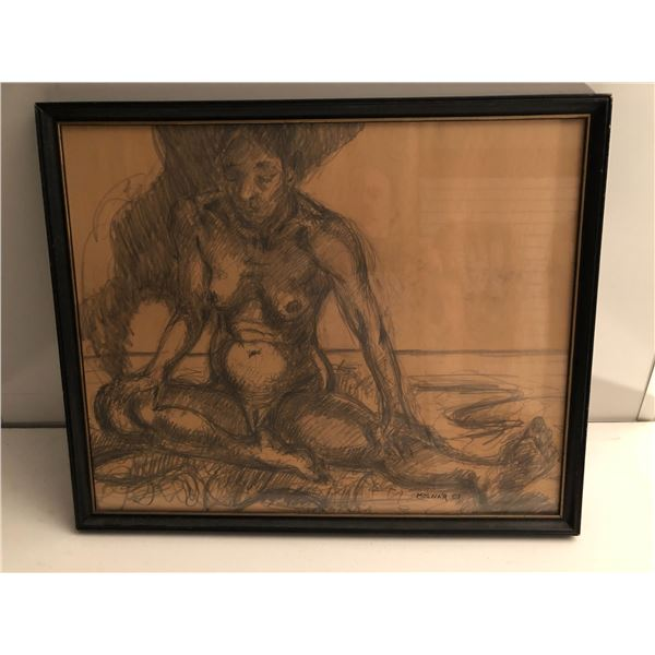 Frank Molnar Canadian (1936 - 2020) - Framed nude charcoal pencil sketch drawing 2001 - woman sittin