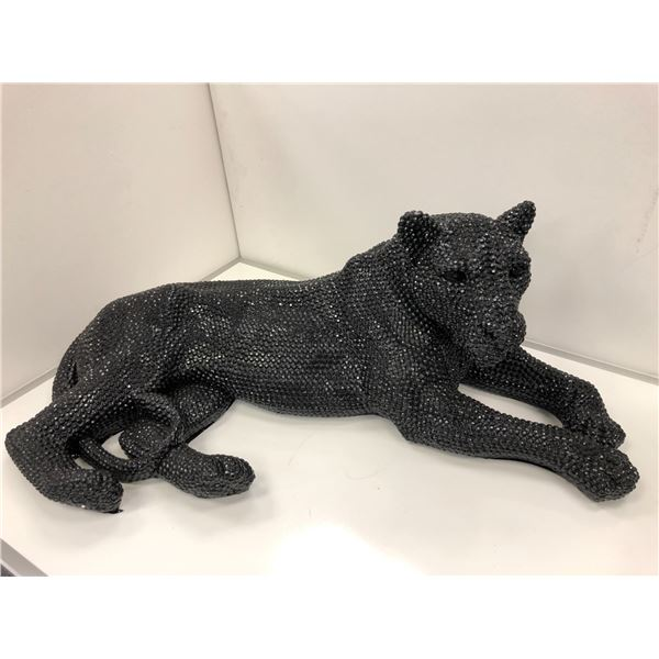 Large black panther decorative sculpture - approx. 40in across x 16in tall x 19in wide