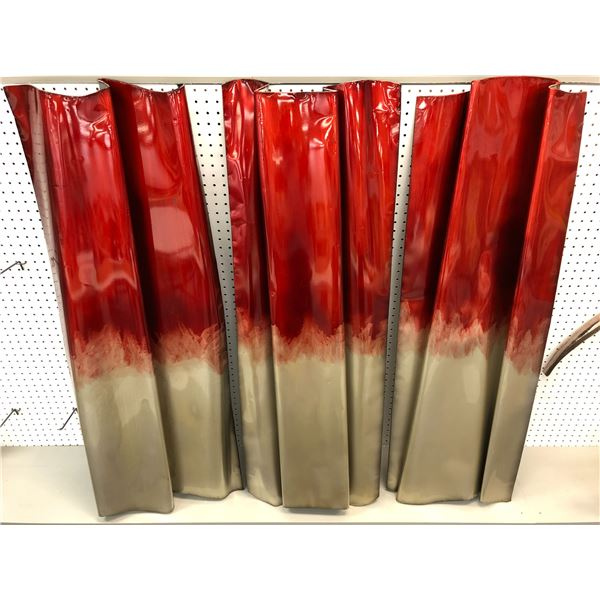 Three pc. decorative metal wall art painted panels - each panel is approx. 49in tall x 15in wide