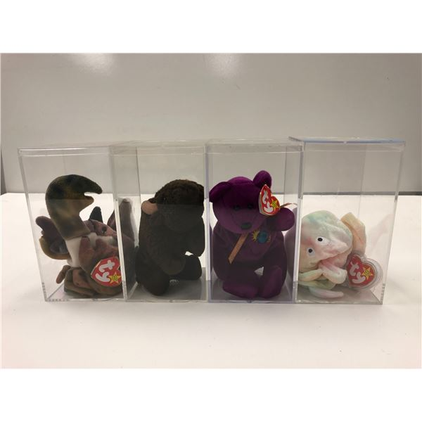 Group of 4 assorted Ty Beanie Babies