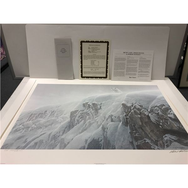 """Robert Bateman """"Arctic Cliff - White Wolves"""" limited edition #1880/2000 print signed by artist - com"""