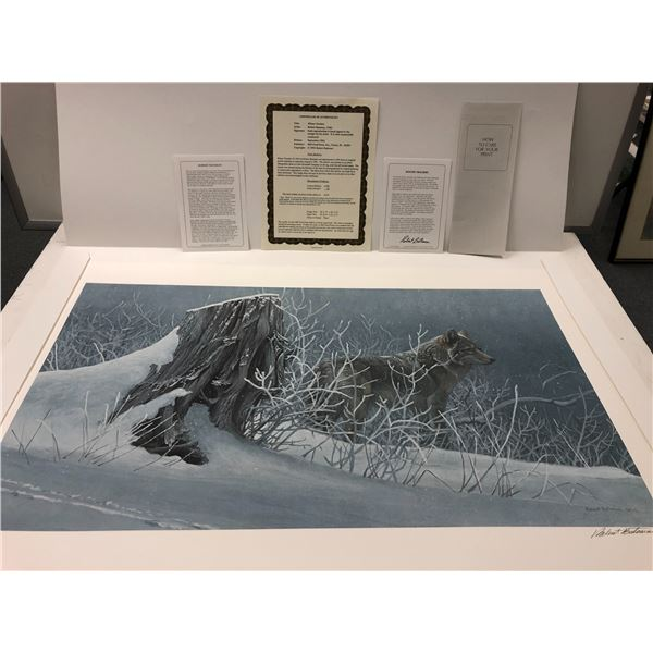 """Robert Bateman """"Winter Trackers"""" limited edition #377/4500 print signed by artist - comes w/ COA"""