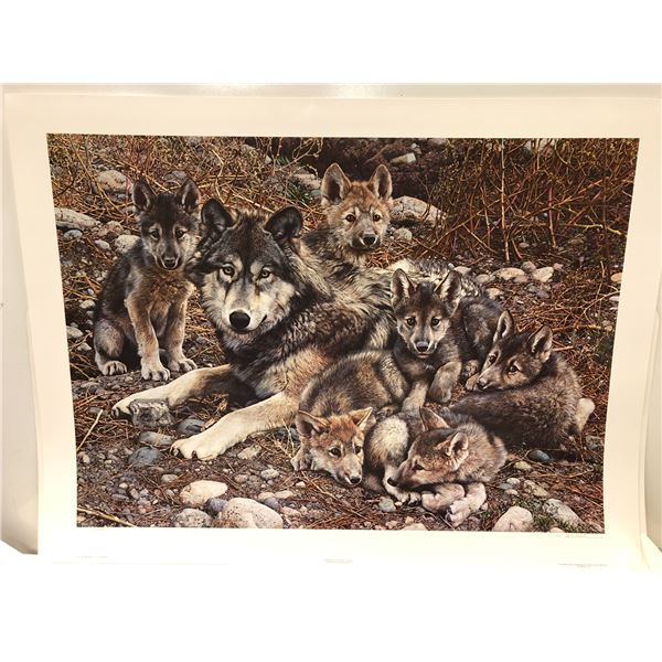 """Carl Brenders """"Den Mother - Wolf Family"""" limited edition #5091/25000 print signed by artist - approx"""
