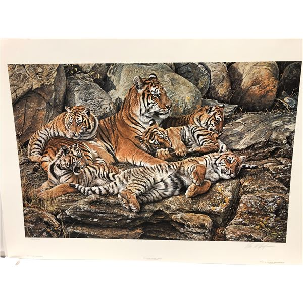 """Alan M. Hunt """"Restful Interlude - Tiger Family"""" limited edition #537/1250 print signed by artist - c"""