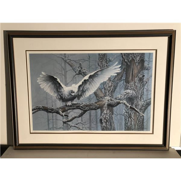 """Framed Lawrence A. Dyer """"Great Snowy Owl"""" limited edition #16/500 print signed by artist - approx. 3"""