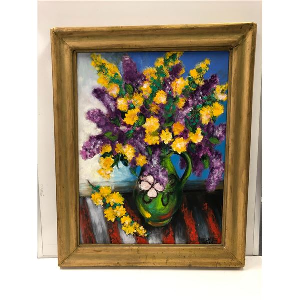Frank Molnar oil on canvas framed still-life floral painting 2016- approx. 27in x 34in (64)