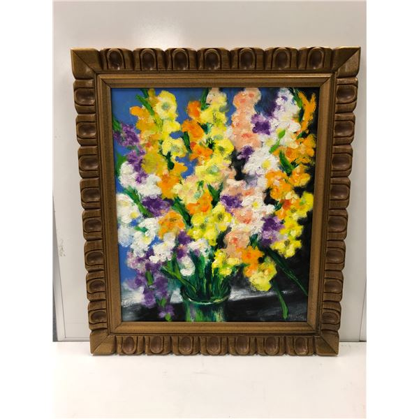 Frank Molnar oil on board framed still-life floral painting 2017 - approx. 26in x 30in (70)