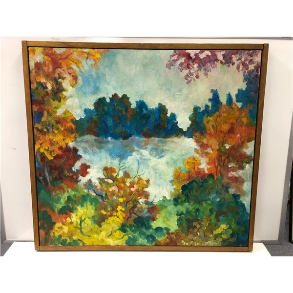 Frank Molnar oil on canvas framed impressionist style autumn trees painting 1966 - approx. 35in x 32