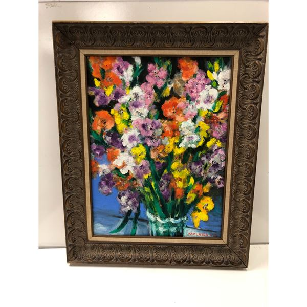 Frank Molnar oil on board framed still-life floral painting 2017 - approx. 25in x 31in (36)