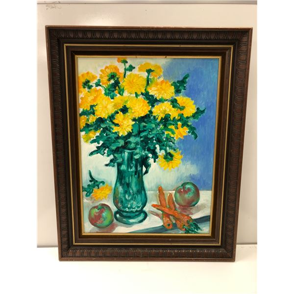 Frank Molnar oil on board framed still-life floral painting 1998 - approx. 24in x 30in (86)