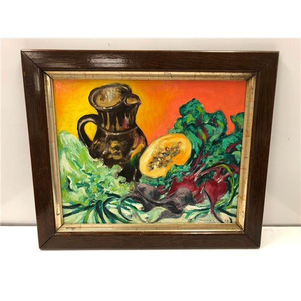 Frank Molnar oil on board framed still-life earthenware jug & vegetables painting 1999 - approx. 25i