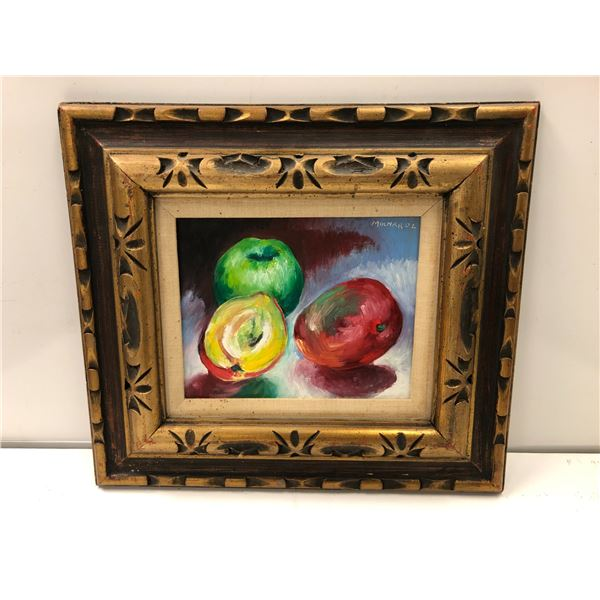 Frank Molnar oil on board framed still-life fruit painting 2002 - approx. 18in x 16in (39)