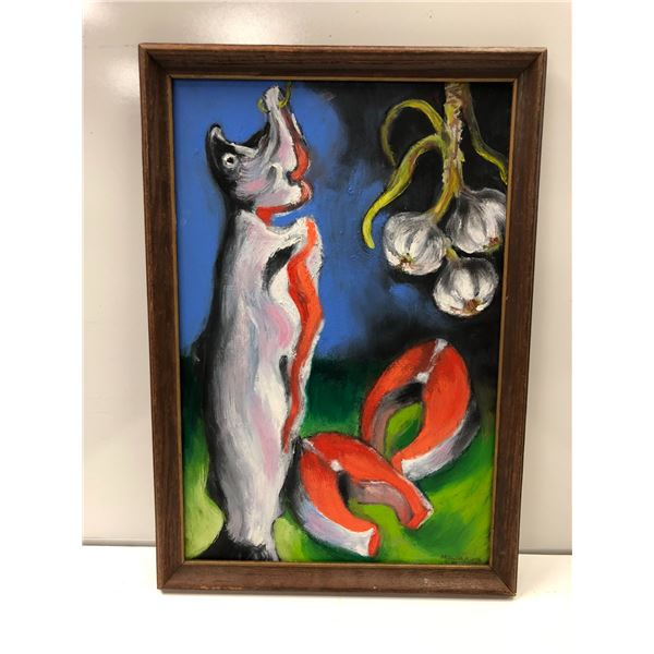 Frank Molnar oil on board framed still-life hanging salmon painting 2016 - approx. 18in x 26in (80)