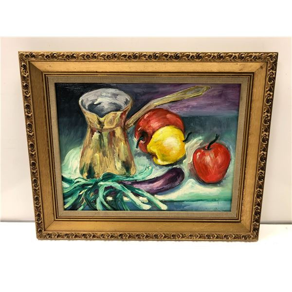 Frank Molnar oil on board framed still-life fruit painting 1999 - approx. 20in x 16in (63)