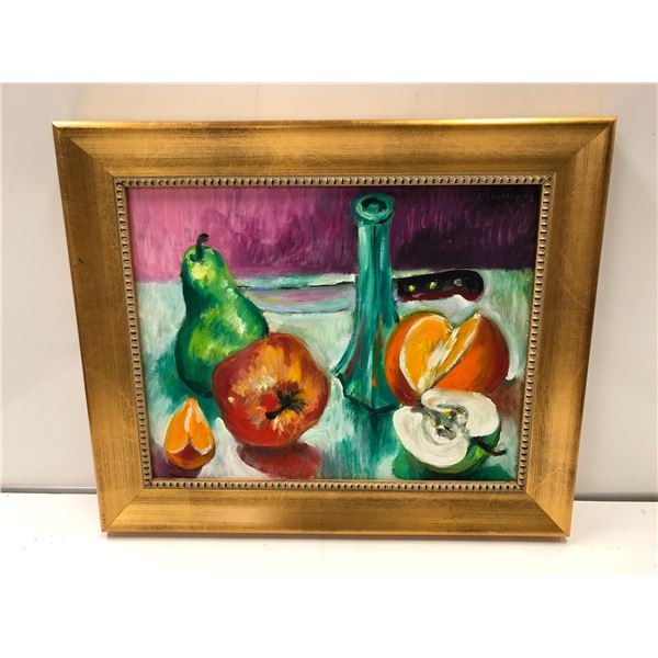 Frank Molnar oil on board framed still-life fruit painting 2002 - approx. 17 1/2in x 14 1/2in (82)